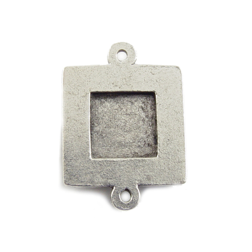 Enamel, Patina & Resin Plated Silver Small Square Bezel Link