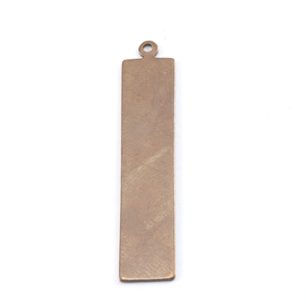 Metal Stamping Blanks Antiqued Brass Rectangle with Top Loop, 24g