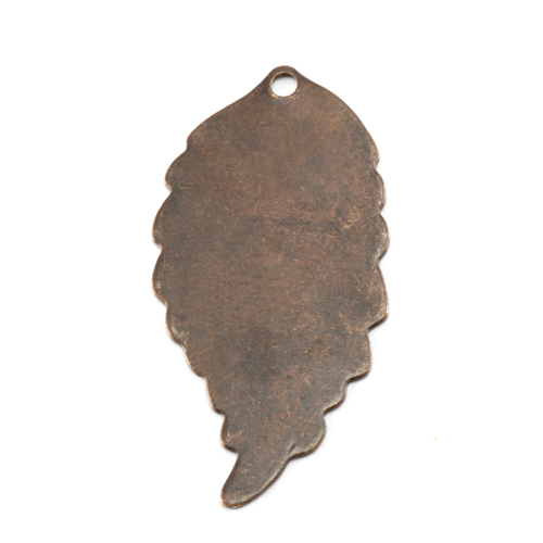 Metal Stamping Blanks Antiqued Brass Leaf with Hole, 26g