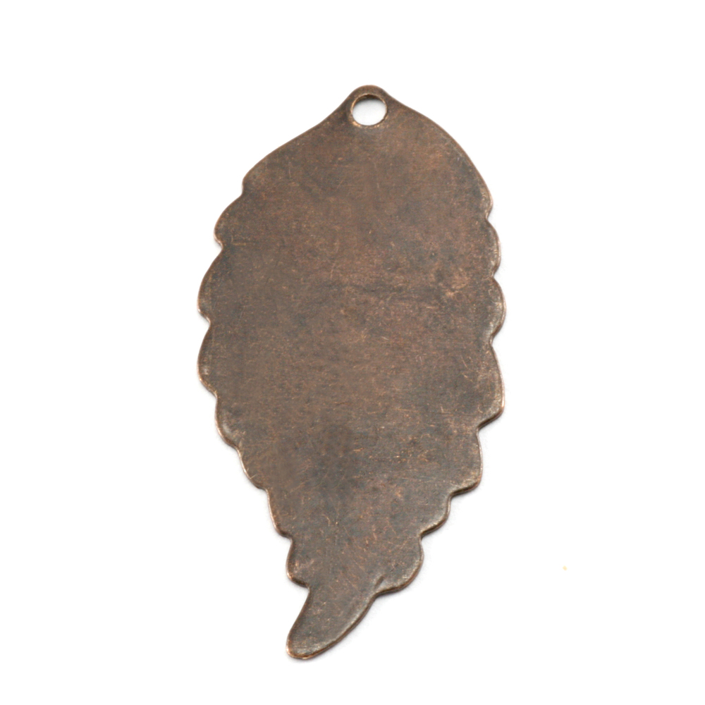 "Metal Stamping Blanks Antiqued Brass Leaf with Hole, 29mm (1.14"") x 14mm (.55""), 26g"
