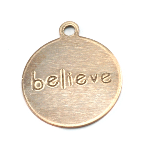"Metal Stamping Blanks Antiqued Brass Circle ""believe"" Tag with Top Loop, 24g"