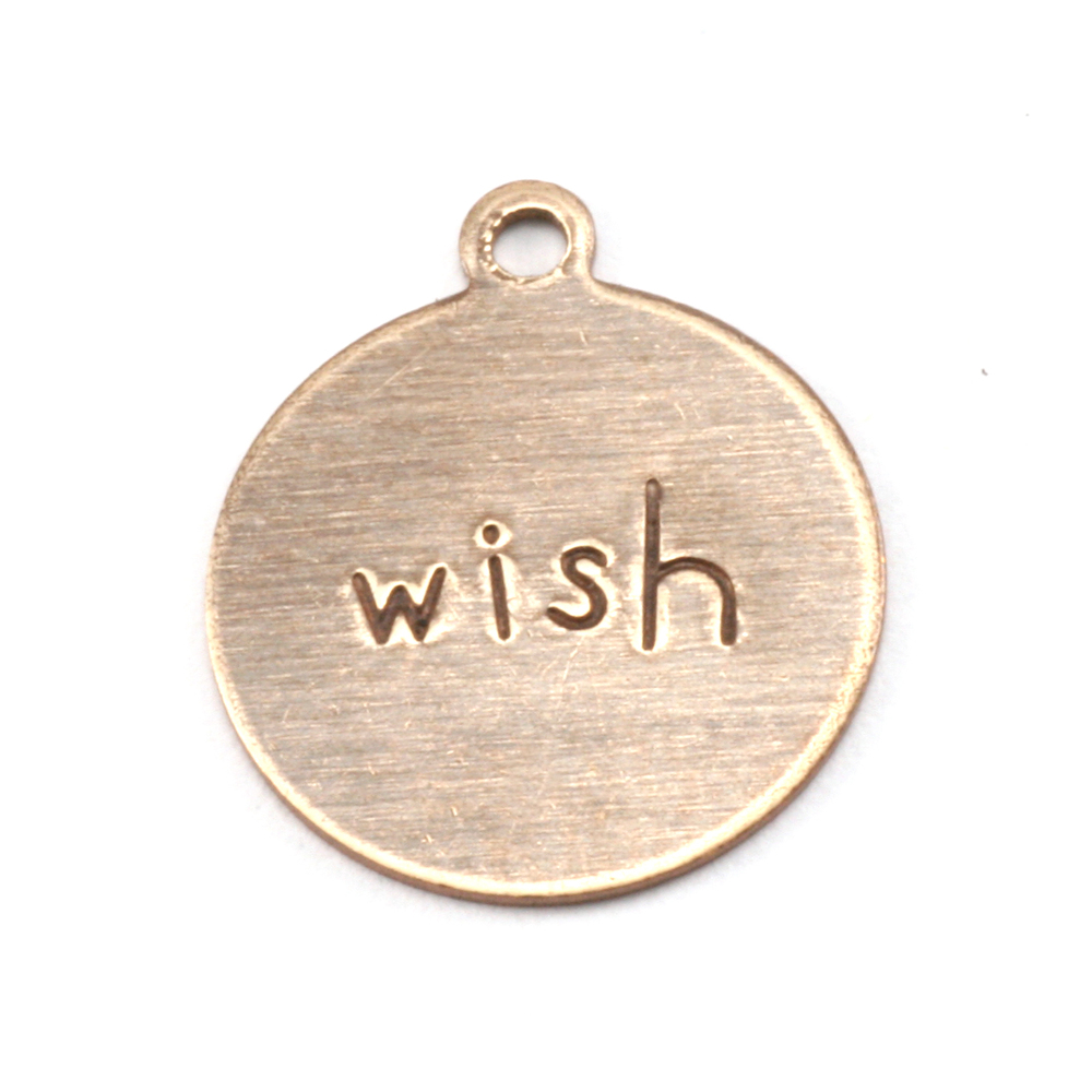 "Metal Stamping Blanks Antiqued Brass Circle ""wish"" Tag with Top Loop, 24g"