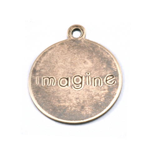 "Metal Stamping Blanks Antiqued Brass Circle ""imagine"" Tag with Top Loop, 24g"