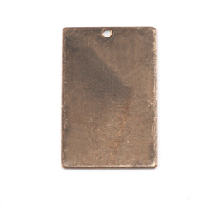 "Metal Stamping Blanks Antiqued Brass Rectangle with Hole, 22m (.87"") x 14mm (.55""), 26g"
