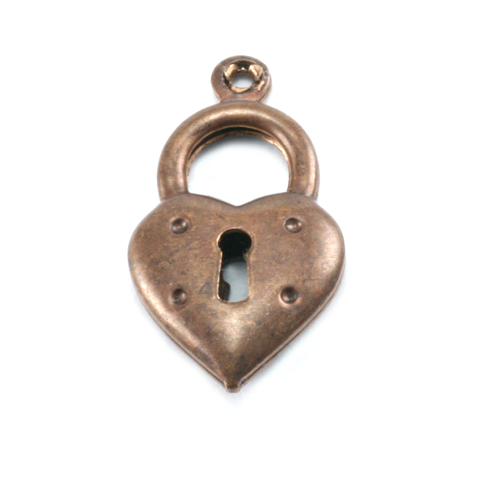 Charms & Solderable Accents Antiqued Brass Double Sided Heart Locket  w/Top Loop