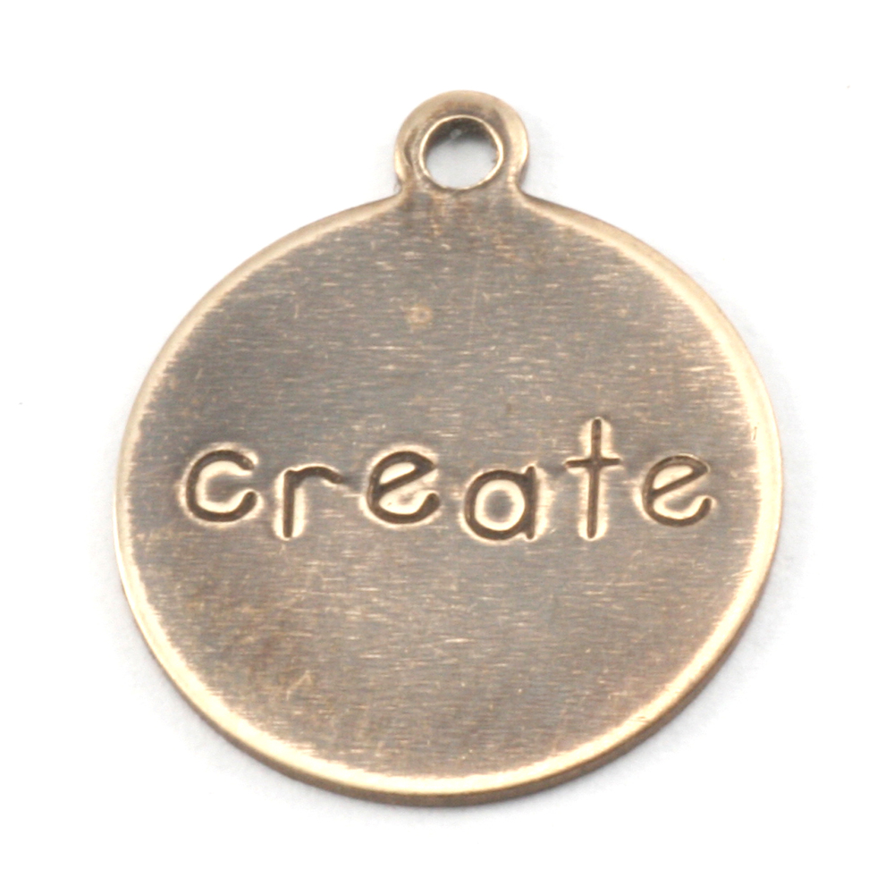 "Metal Stamping Blanks Antiqued Brass Circle ""create"" Tag with Top Loop, 24g"