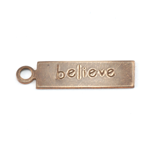 "Metal Stamping Blanks Antiqued Brass Rectangle ""believe"" Tag with Top Loop, 24g"