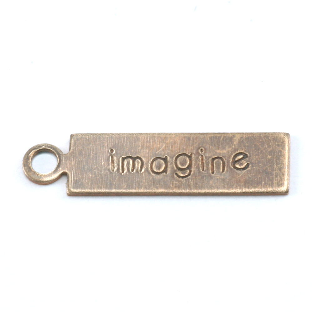 "Metal Stamping Blanks Antiqued Brass Rectangle ""imagine"" Tag with Top Loop, 24g"
