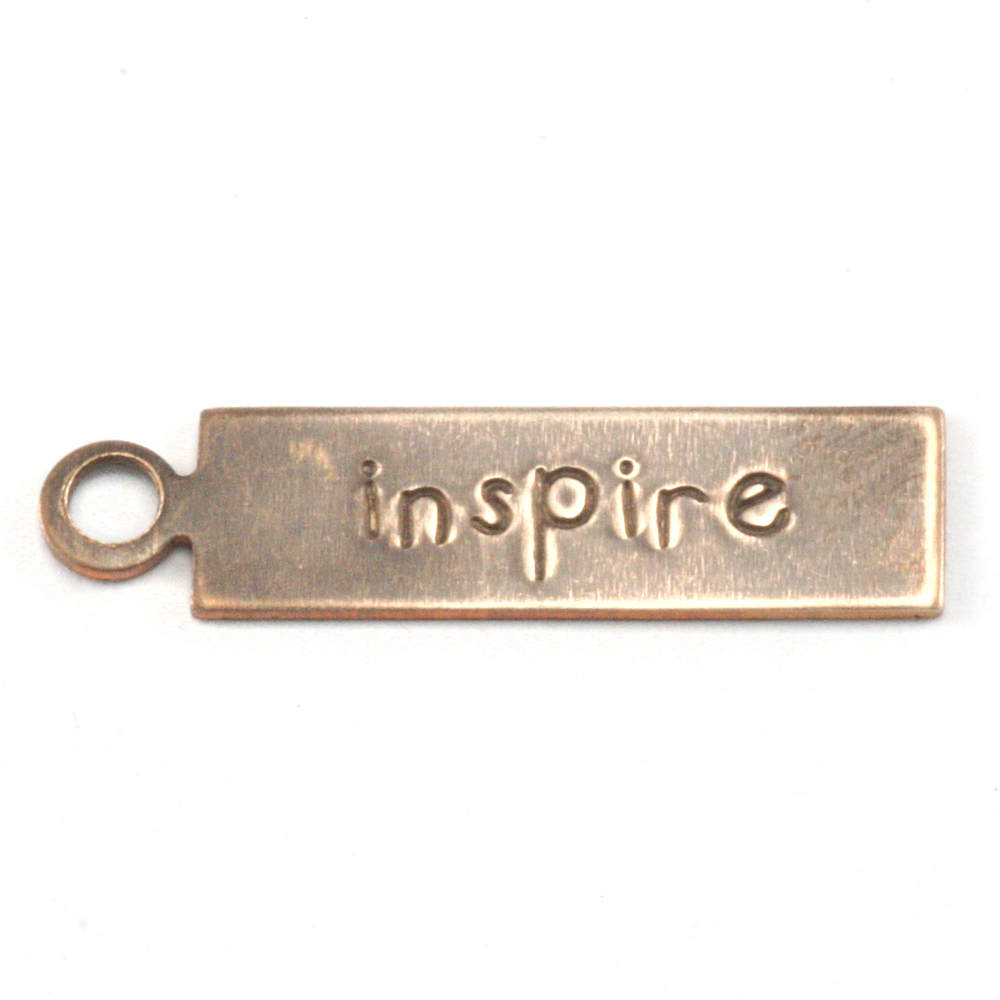 "Metal Stamping Blanks Antiqued Brass Rectangle ""inspire"" Tag with Top Loop, 24g"