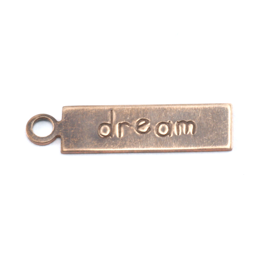 "Metal Stamping Blanks Antiqued Brass Rectangle ""dream"" Tag with Top Loop, 24g"