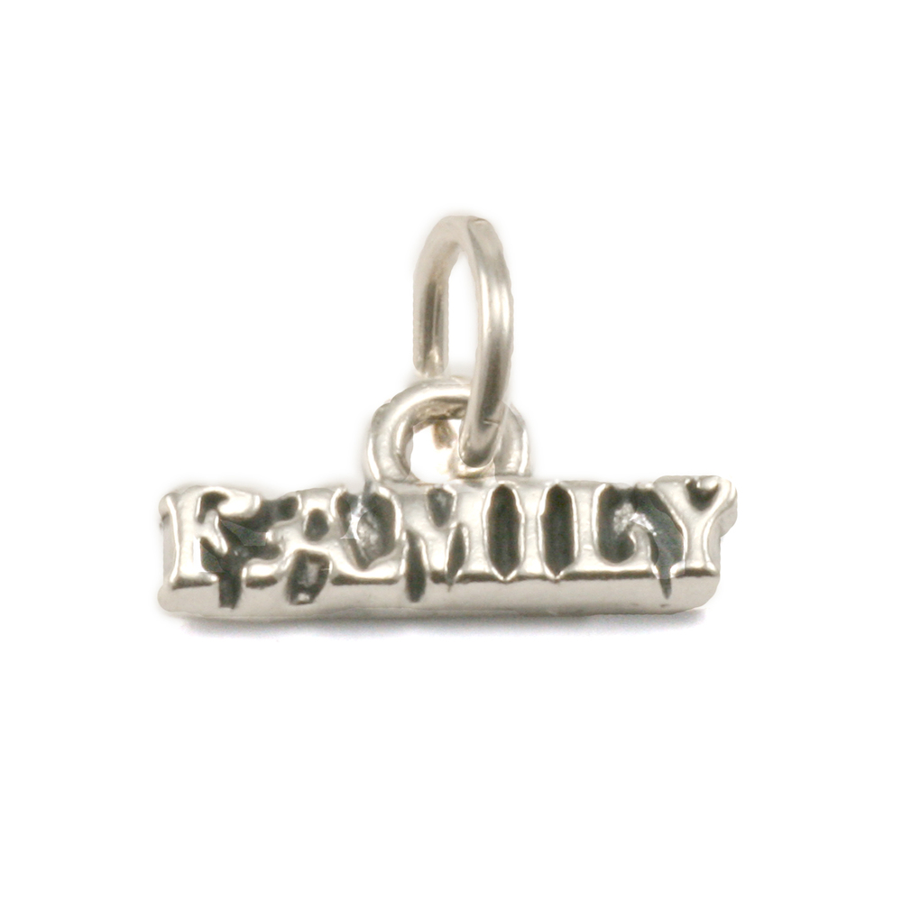 "Charms & Solderable Accents Sterling Silver ""Family"" Charm with Attached Jump Ring"