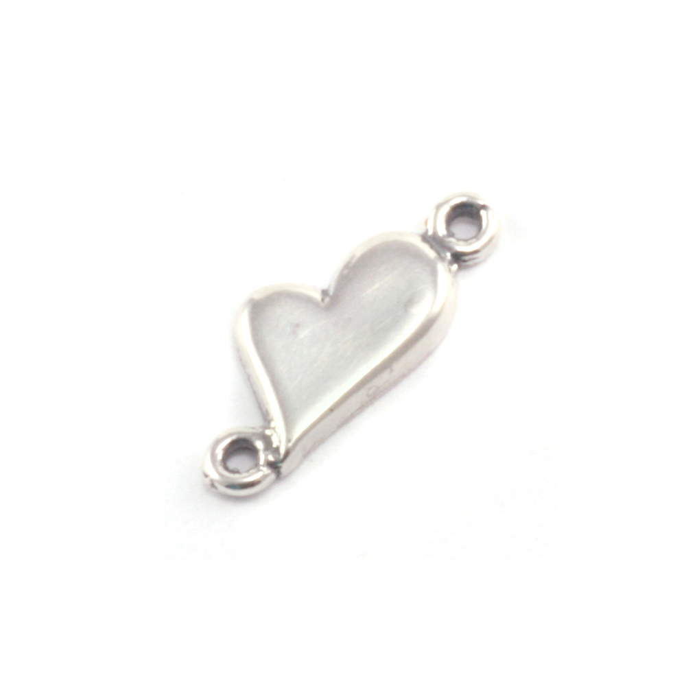 Charms & Solderable Accents Sterling Silver Asymmetrical Heart Link with Two Loops