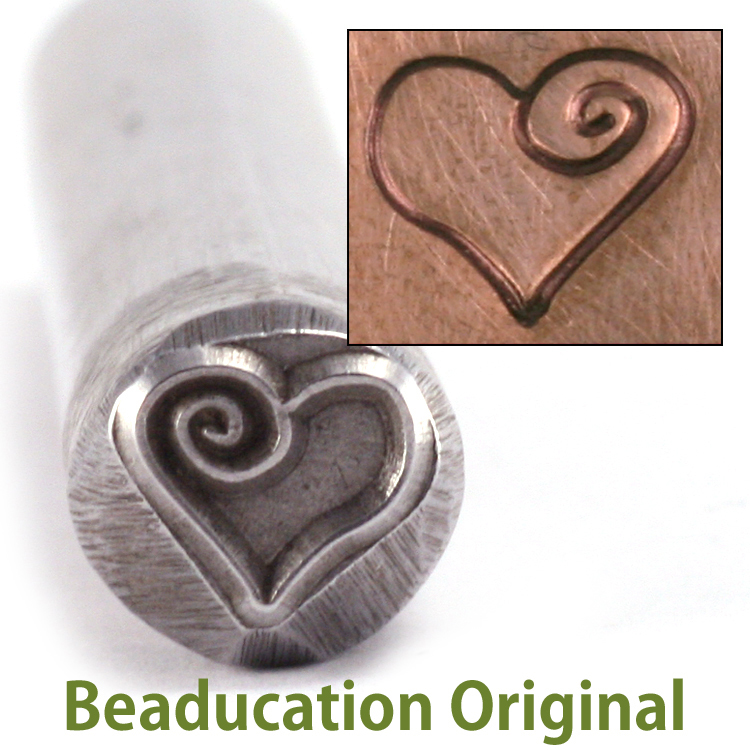 Metal Stamping Tools Large Heart with Spiral Metal Design Stamp (7.5mm)-Beaducation Original