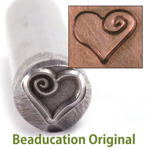 Metal Stamping Tools Large Heart with Spiral Stamp (7.5mm)-Beaducation Original