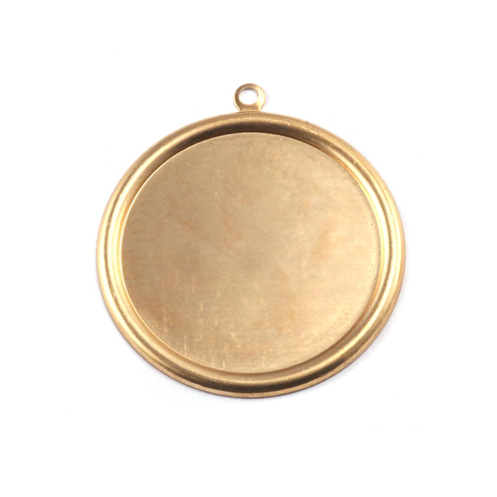 "Metal Stamping Blanks Brass Pressed Circle w/Raised Edge, 22mm (.87""), 26g"