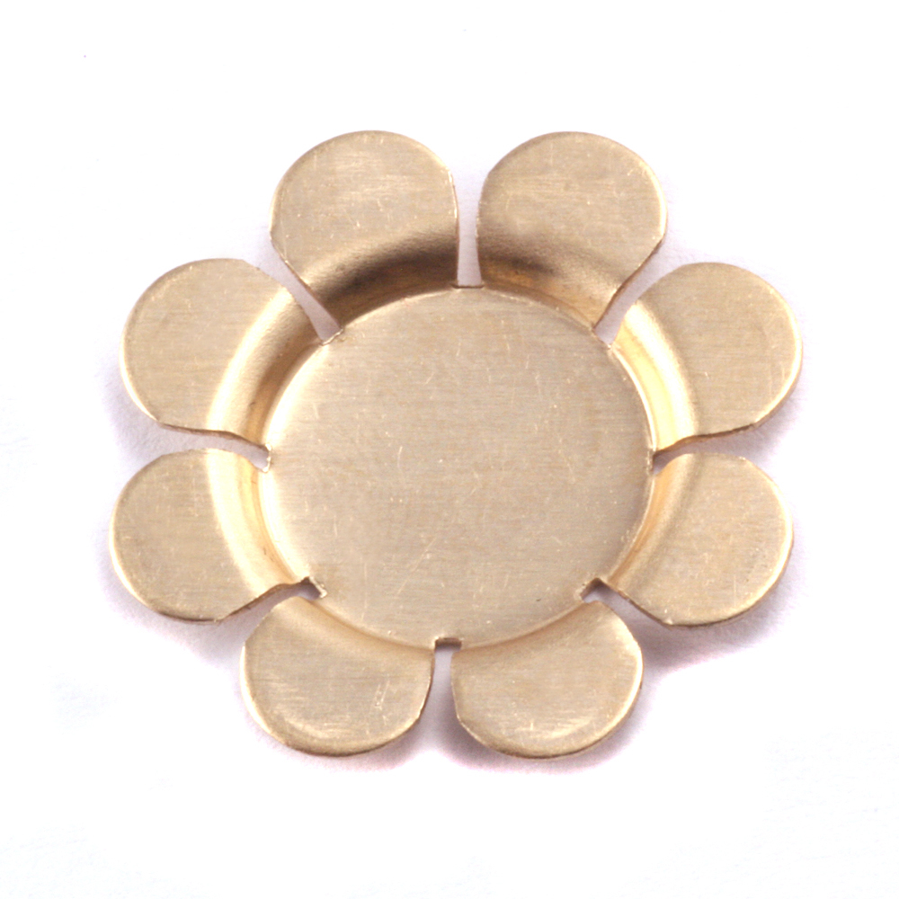Metal Stamping Blanks Brass Recessed 8 Petal Flower Blank, 24g