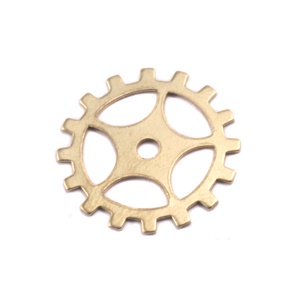"Metal Stamping Blanks Brass Spoked Cog, 19mm (.75""), 24g"