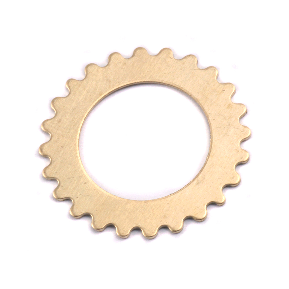 "Metal Stamping Blanks Brass Open Cog, 25mm (1""), 24g"