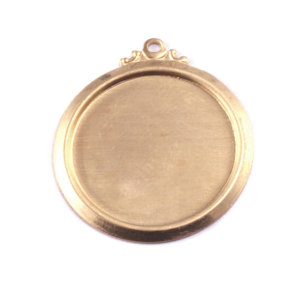"""Metal Stamping Blanks Brass 7/8"""" (22mm) Pressed Circle w/Ornate Loop"""