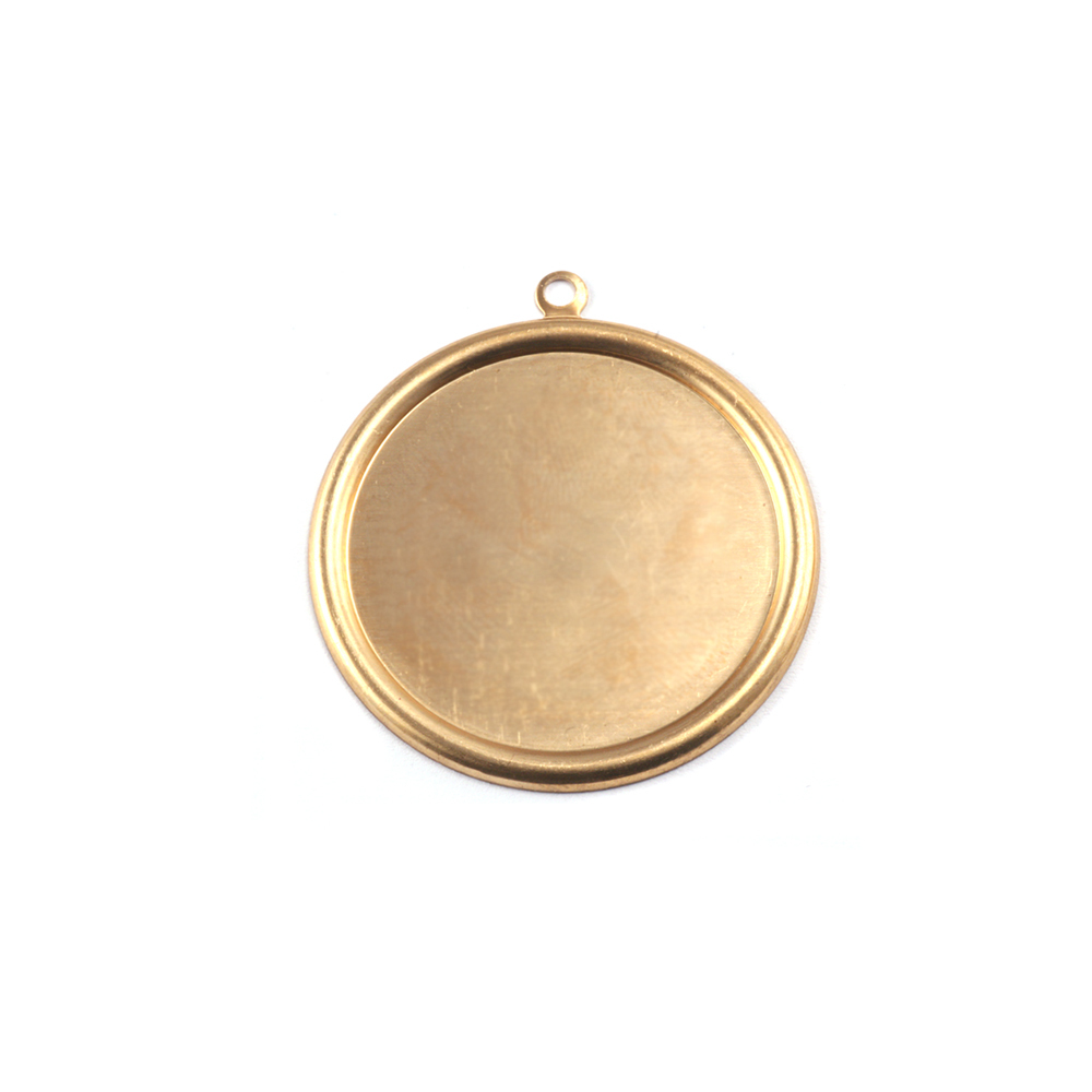 """Metal Stamping Blanks Brass Pressed Circle with Raised Edge, 16mm (.63""""), 26g"""