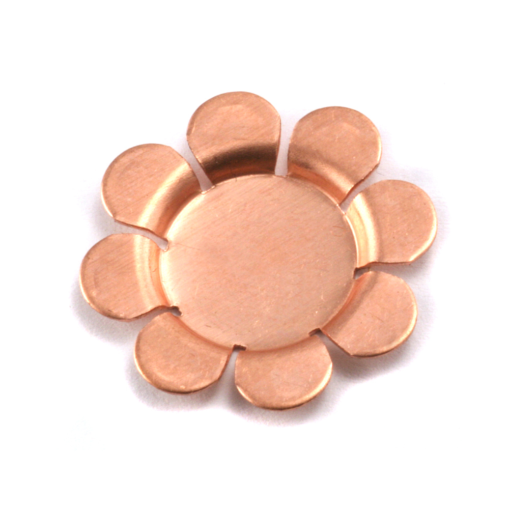 "Metal Stamping Blanks Copper Flower with 8 Raised Petals, 22mm (.87""), 24g , Pack of 4"