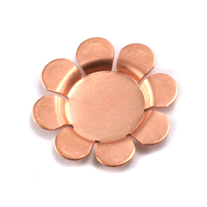 "Metal Stamping Blanks Copper Flower with 8 Raised Petals, 22mm (.87""), 24g , Pk of 4"
