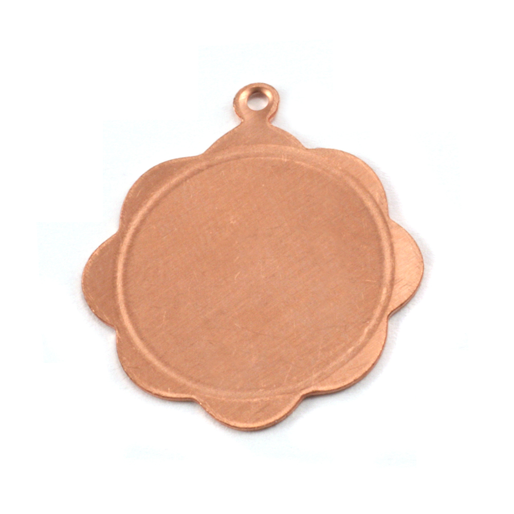 Metal Stamping Blanks Copper Scalloped Pendant with Circle Border, 24g