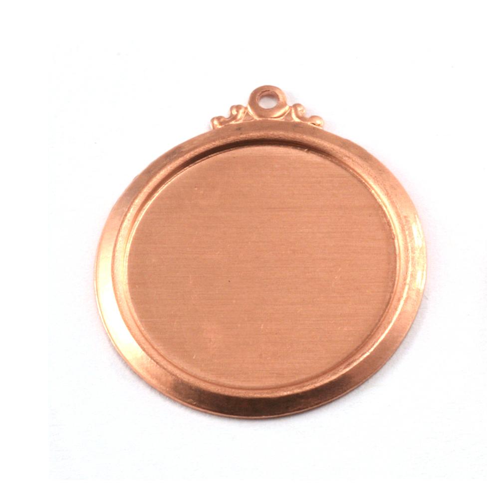 """Metal Stamping Blanks Copper 7/8"""" (22mm) Pressed Circle w/Ornate Loop"""