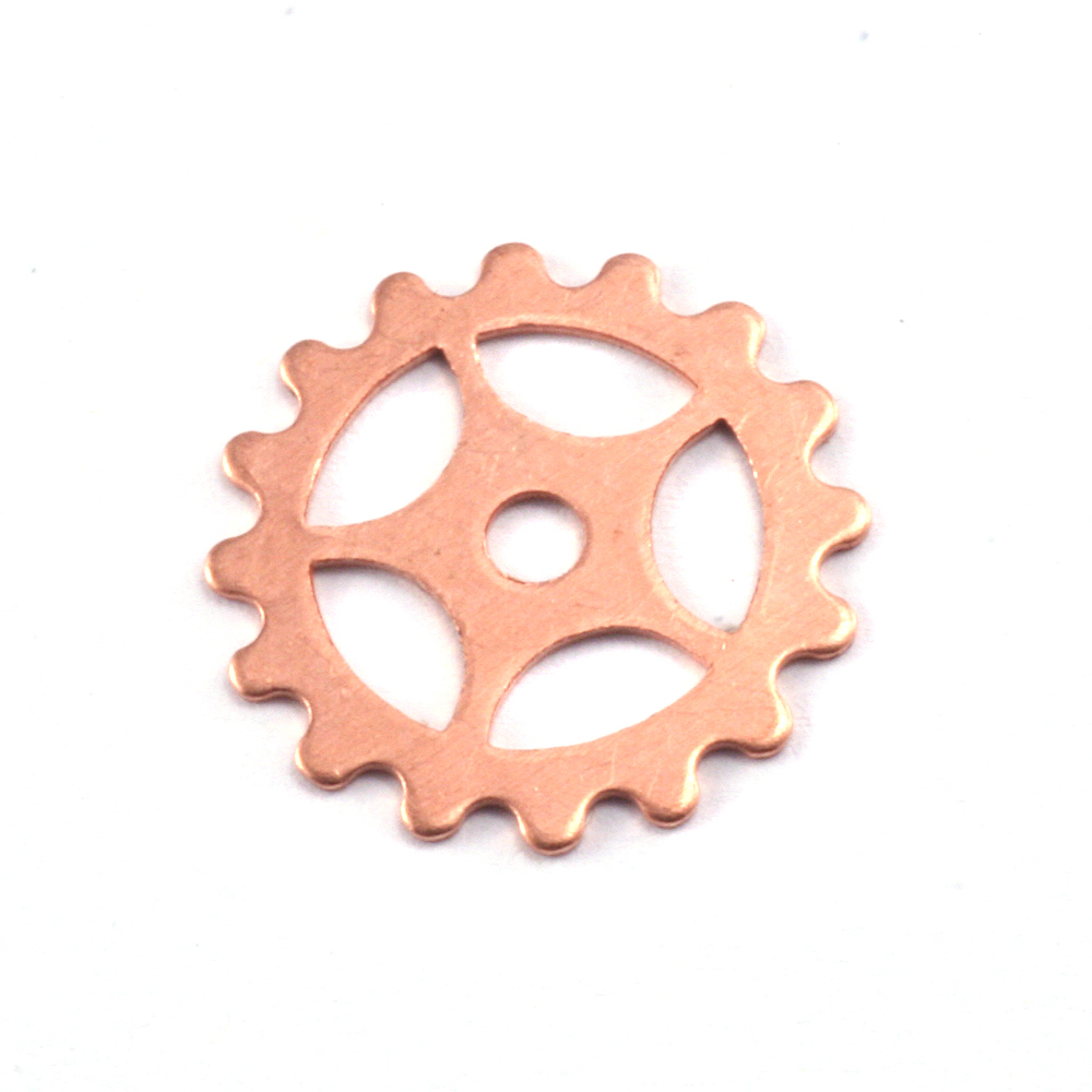 "Metal Stamping Blanks Copper Spoked Cog, 16mm (.63""), 24g"