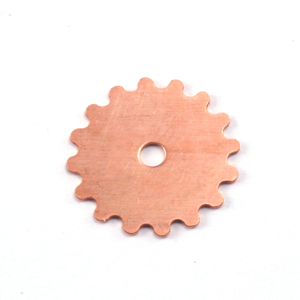 "Metal Stamping Blanks Copper Solid Cog, 16mm (.63""), 24g"