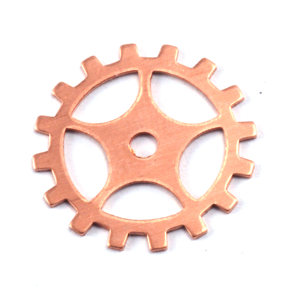 "Metal Stamping Blanks Copper Spoked Cog, 19mm (.75""), 24g"