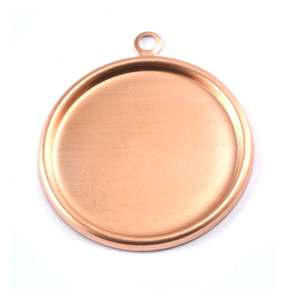 "Metal Stamping Blanks Copper 1 1/8"" (29mm) Pressed Circle w/Raised Edge"