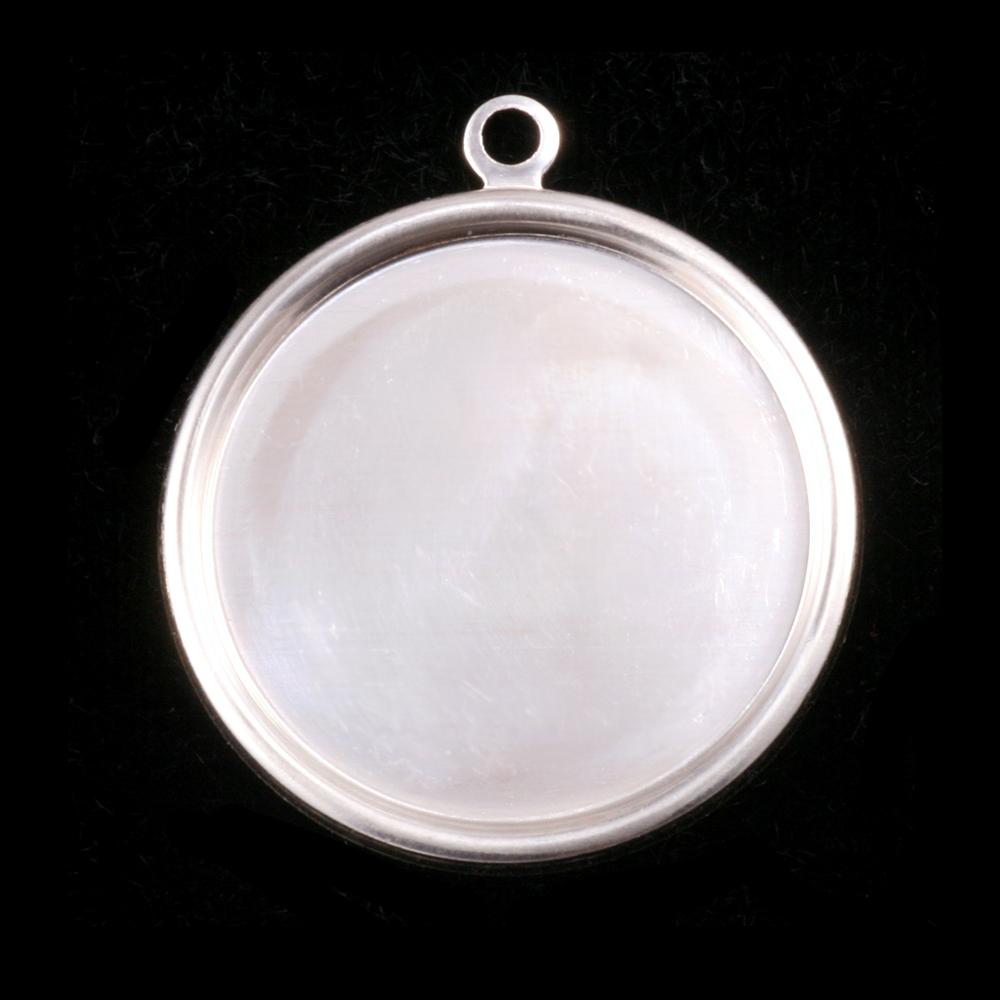 "Metal Stamping Blanks Sterling Silver 1 1/8"" (29mm) Pressed Circle w/Raised Edge"