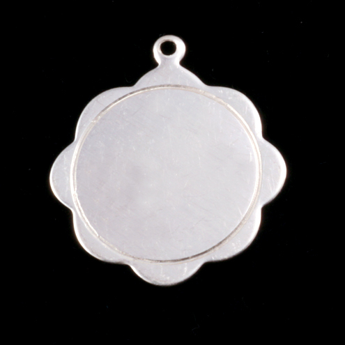 Metal Stamping Blanks Sterling Silver Scalloped Pendant with Circle Border, 24g