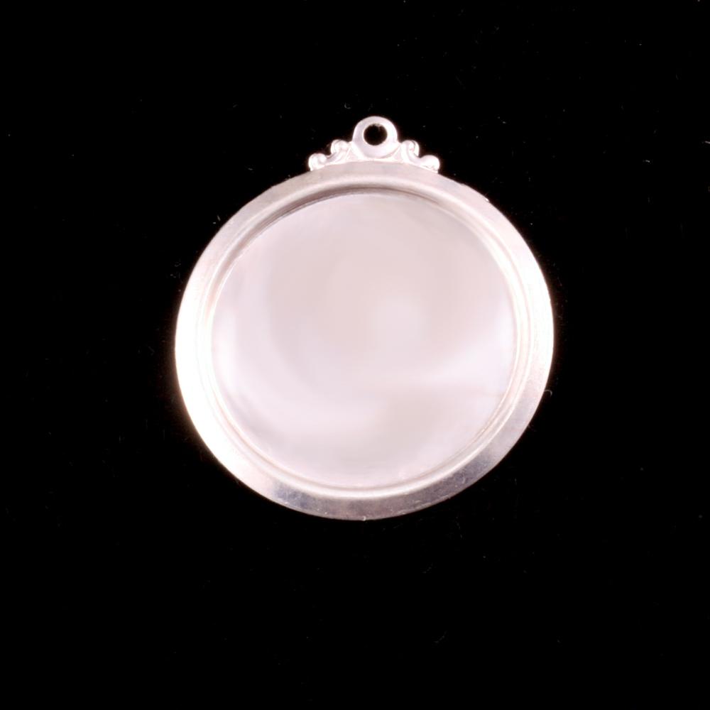 """Sterling Silver 5/8"""" (16mm) Pressed Circle w/Ornate Loop"""