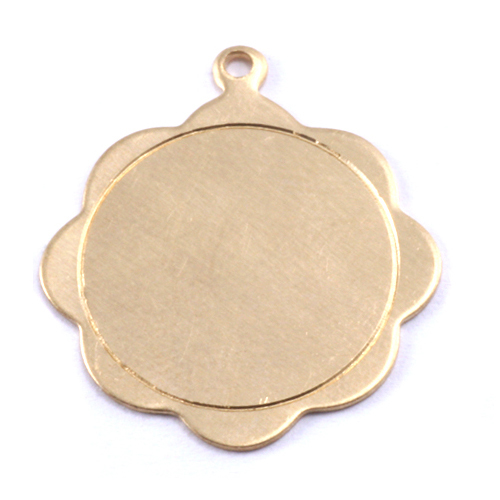 Metal Stamping Blanks Brass Scalloped Pendant with Circle Border, 24g