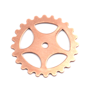 "Metal Stamping Blanks Copper Spoked Cog, 25mm (1""), 24g"