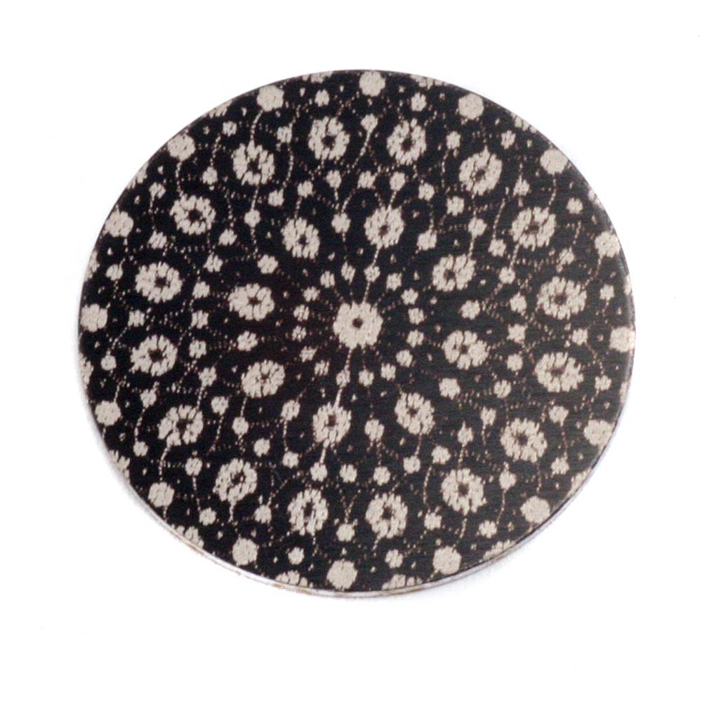 """Anodized Aluminum 1"""" Circle, Black Design #9, 22g"""
