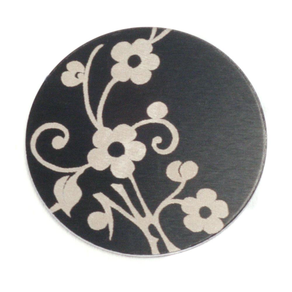 """Anodized Aluminum 1"""" Circle, Black Design #1, 22g"""