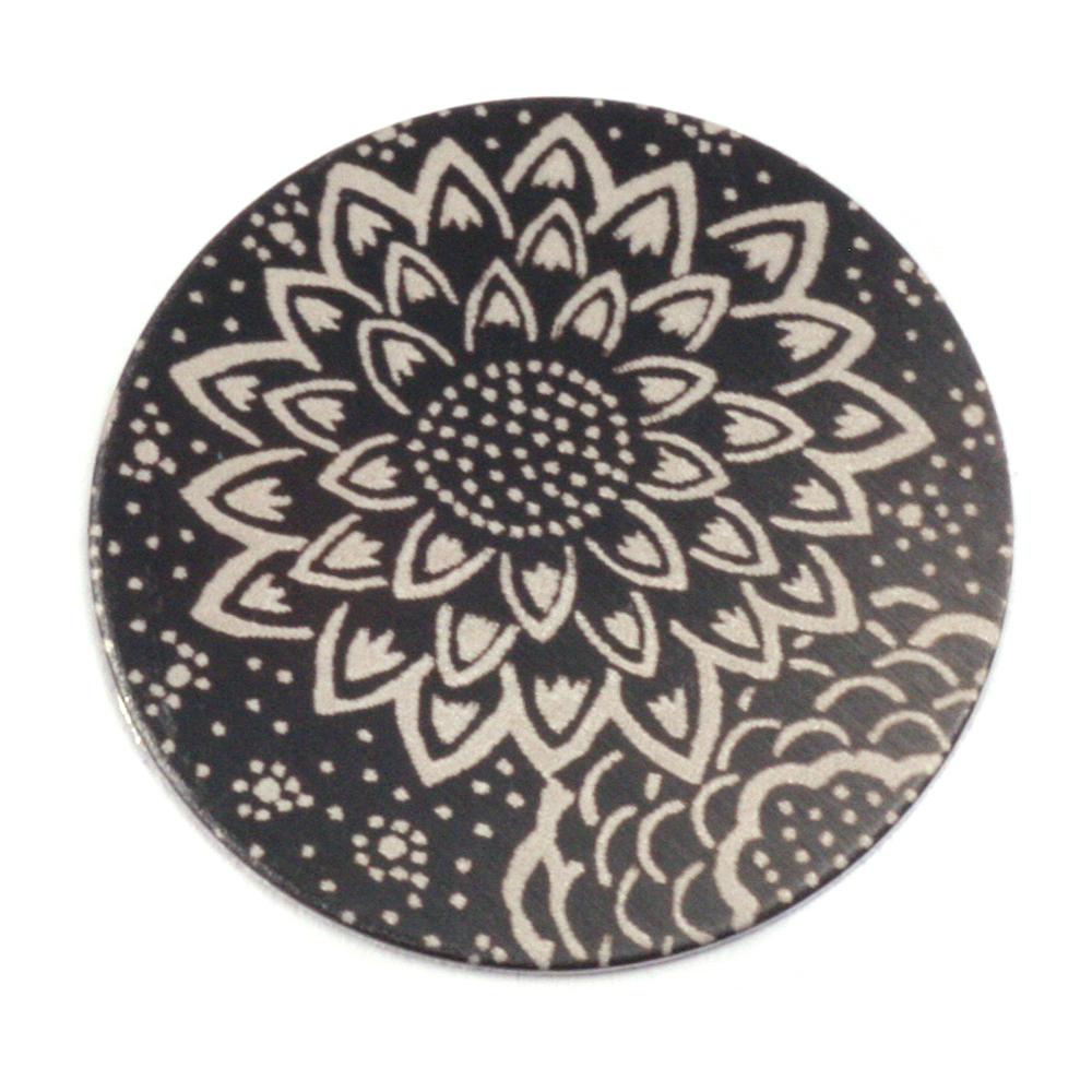 """Anodized Aluminum 1"""" Circle, Black Design #3, 22g"""