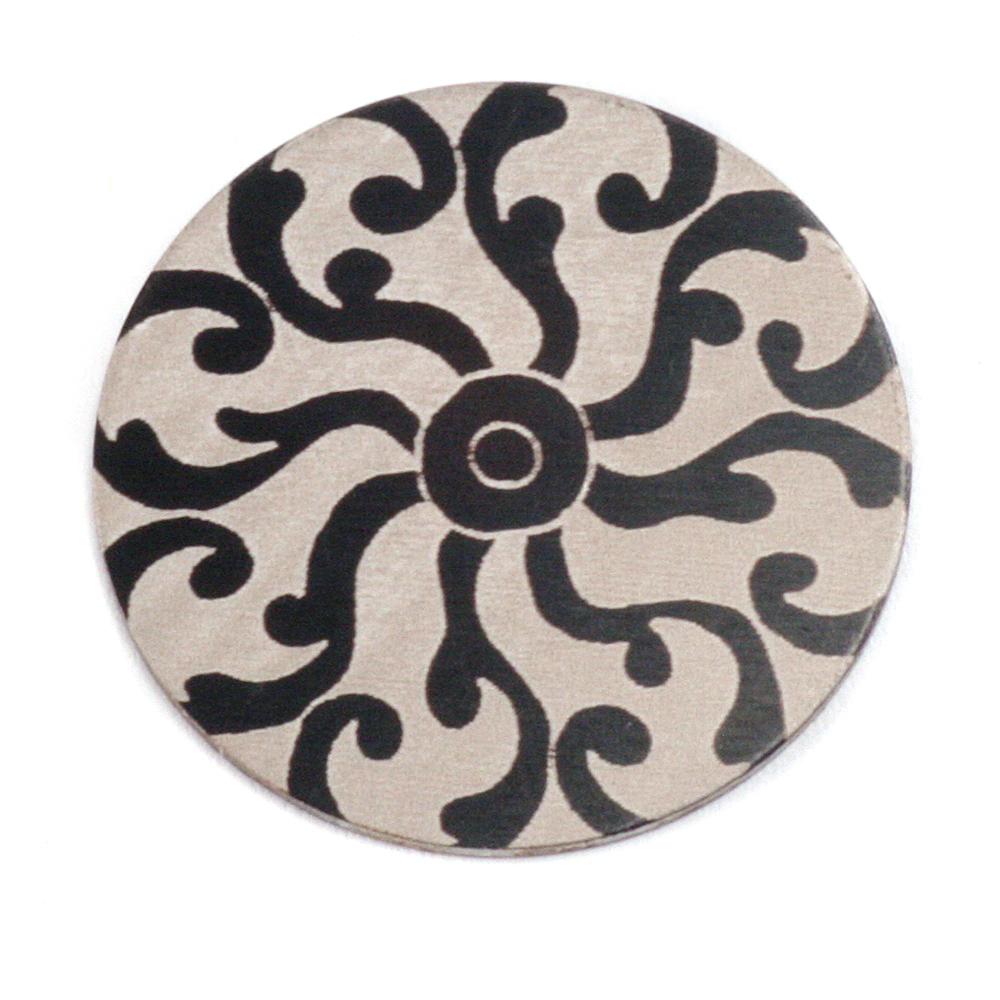 """Anodized Aluminum 1"""" Circle, Black Design #8, 22g"""