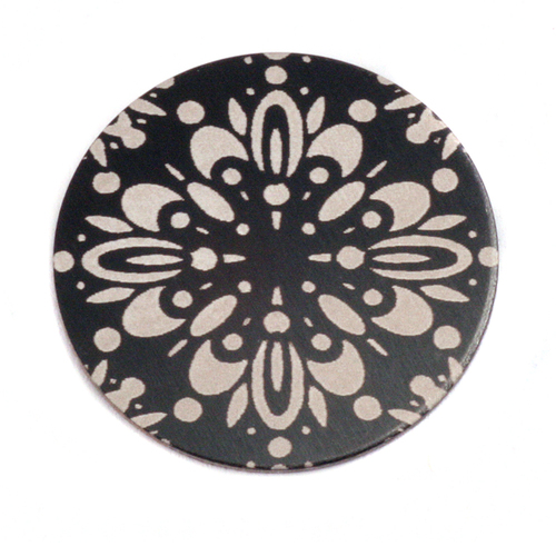 "Dregs Anodized Aluminum 1"" Circle, Black Design #10, 22g"