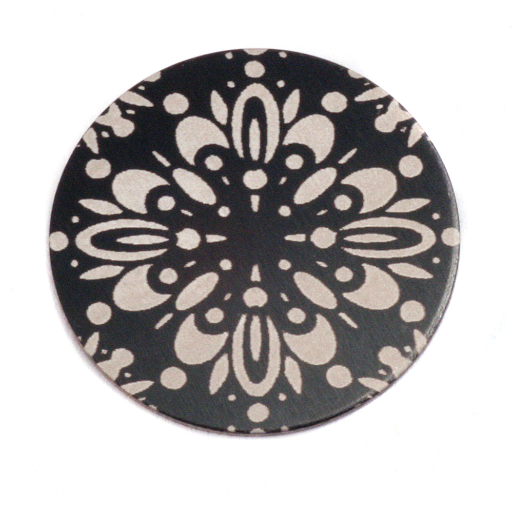 "Anodized Aluminum 1"" Circle, Black Design #10, 22g"