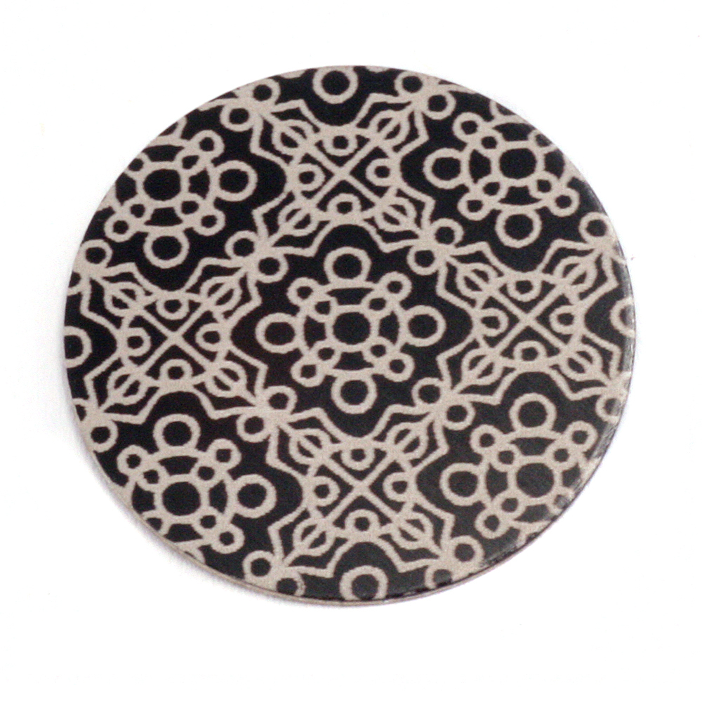 "Anodized Aluminum 1"" Circle, Black Design #11, 22g"