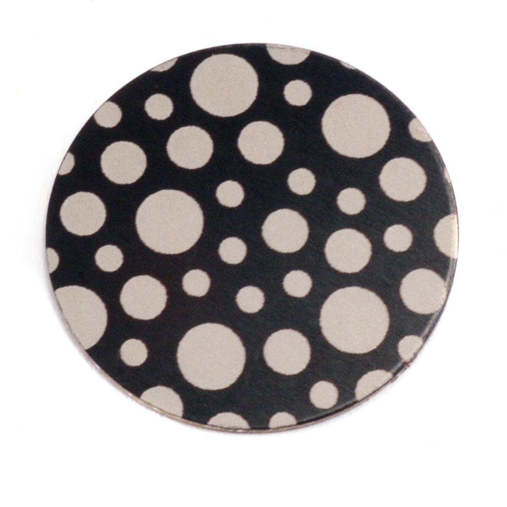 """Anodized Aluminum 1"""" Circle, Black Design #12, 22g"""