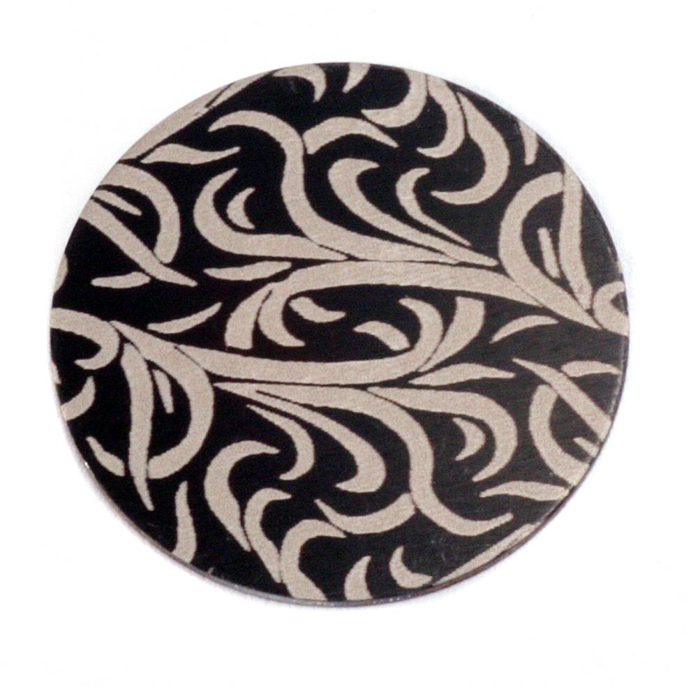 """Anodized Aluminum 1"""" Circle, Black Design #15, 22g"""