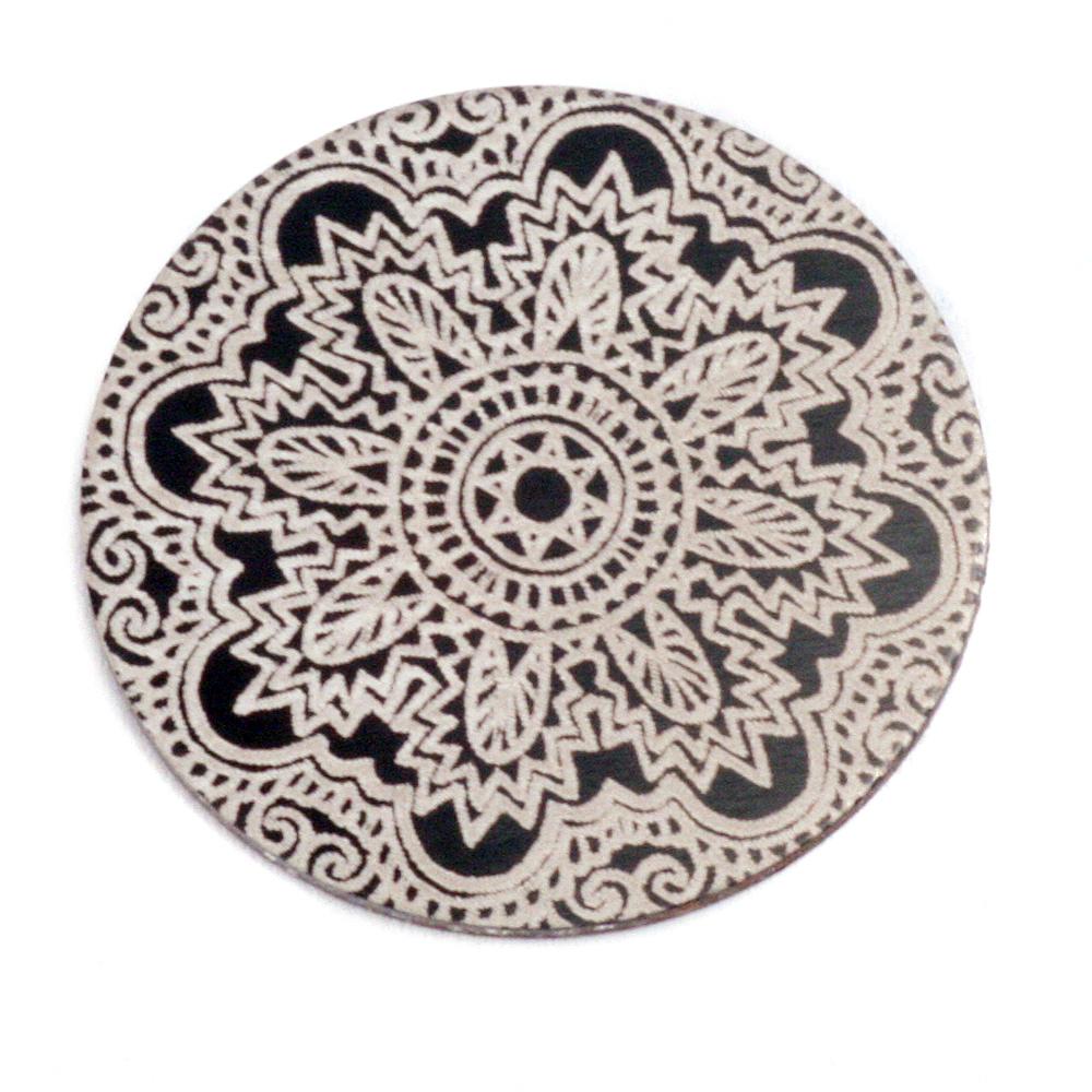 """Anodized Aluminum 1"""" Circle, Black Design #17, 22g"""
