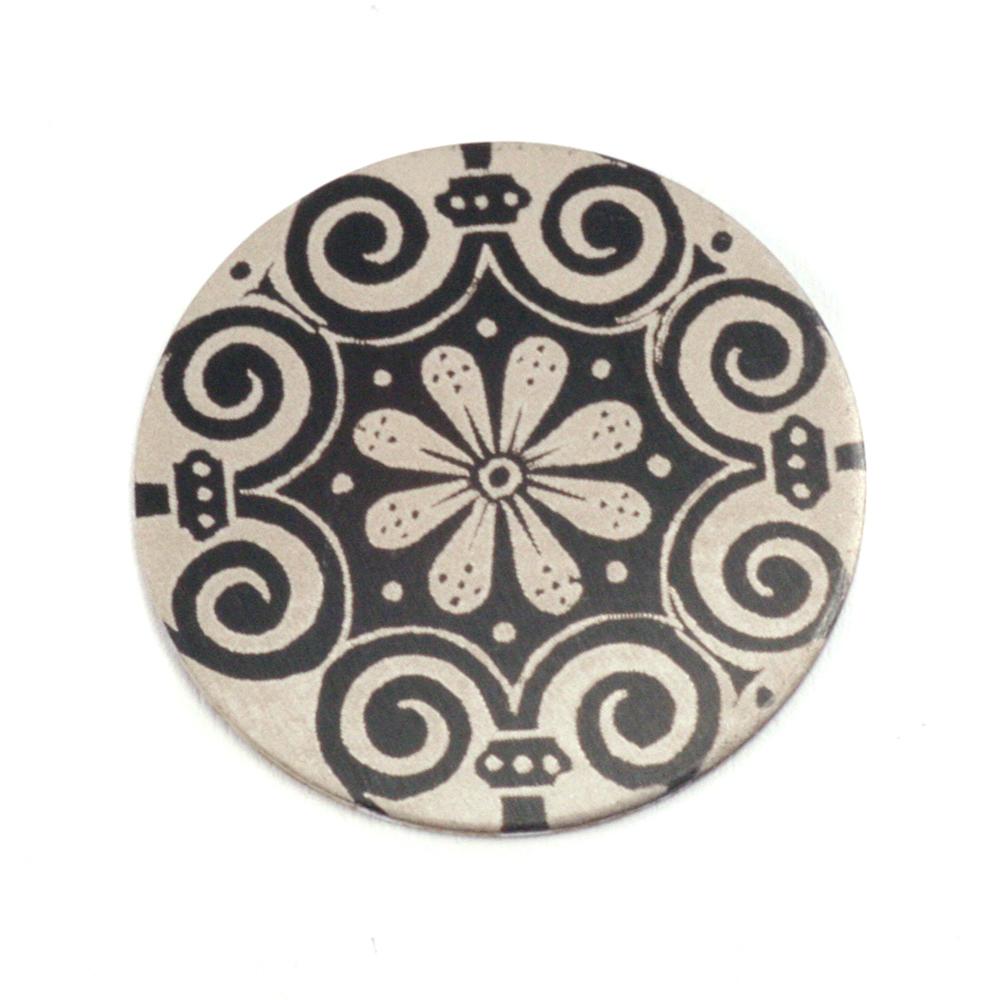 """Anodized Aluminum 3/4"""" Circle, Black Design #4, 22g"""