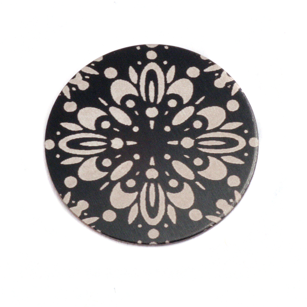 "Anodized Aluminum 3/4"" Circle, Black Design #10, 22g"