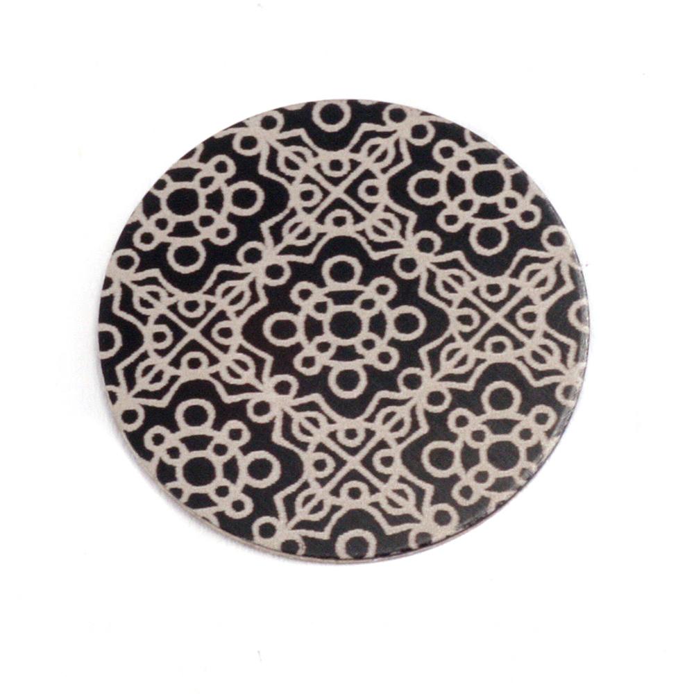 """Anodized Aluminum 3/4"""" Circle, Black Design #11, 22g"""